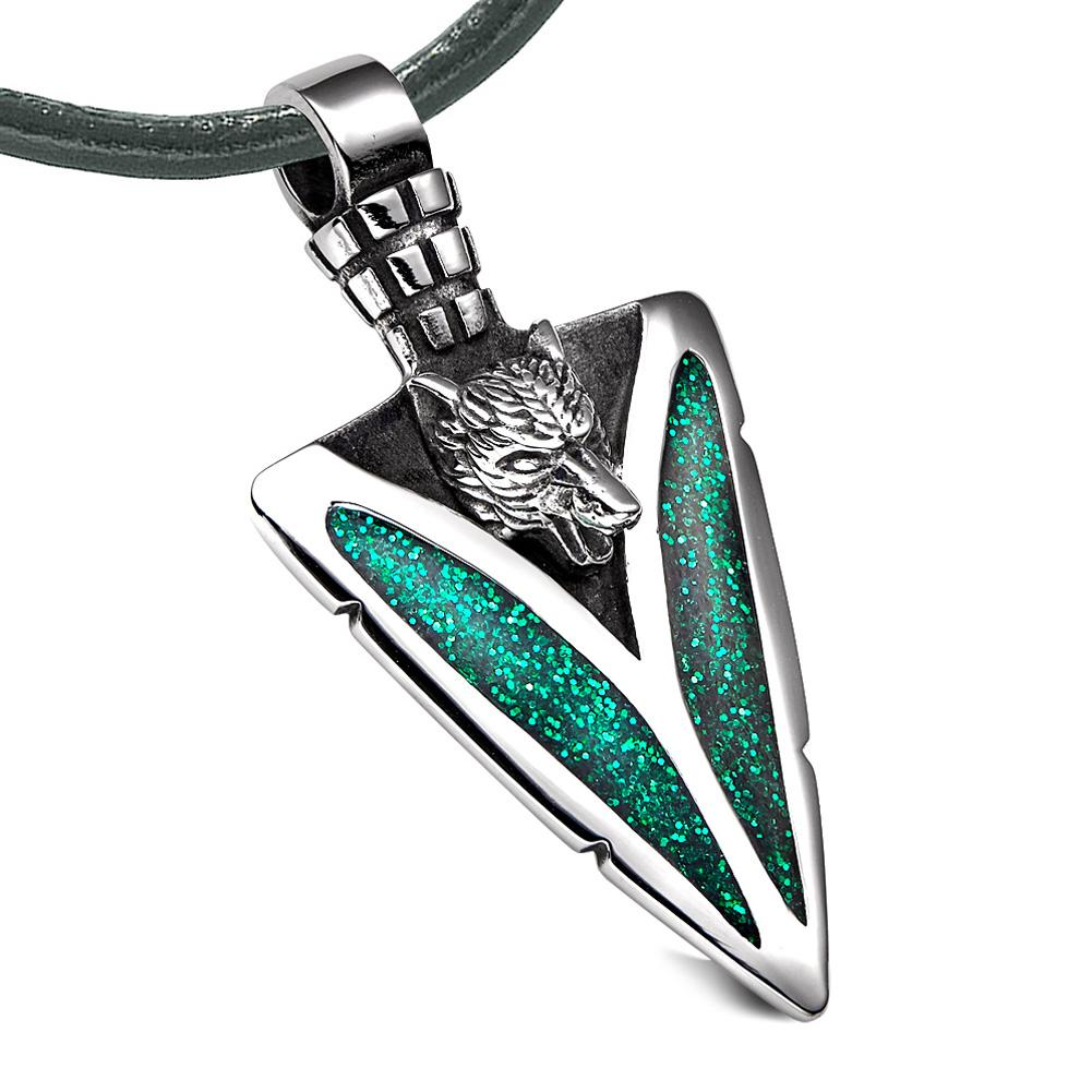 Arrowhead Howling Wolf Courage Powers Protection Amulet Sparkling Royal Green Pendant Leather Necklace