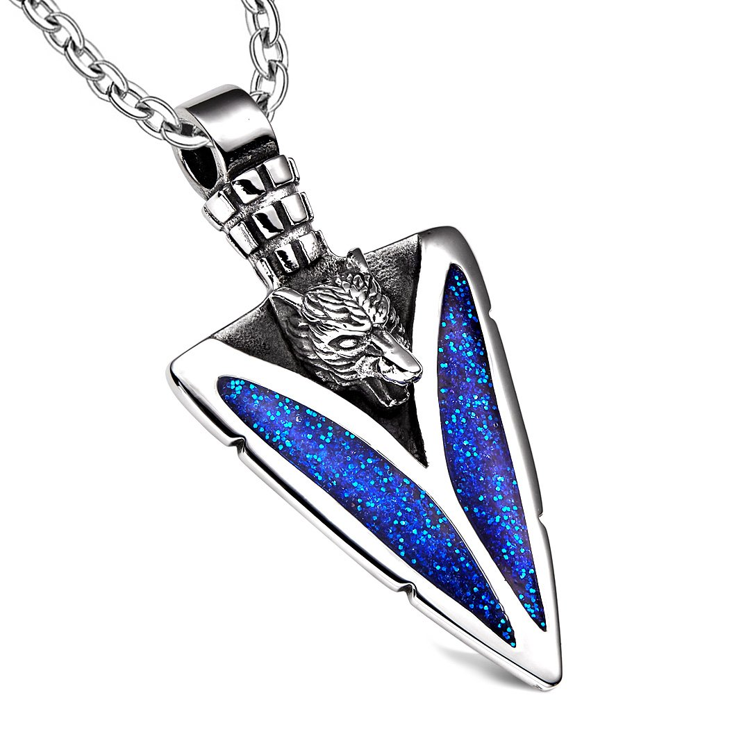 Arrowhead Howling Wolf Courage Powers Protection Amulet Sparkling Royal Blue Pendant 18 Inch Necklace