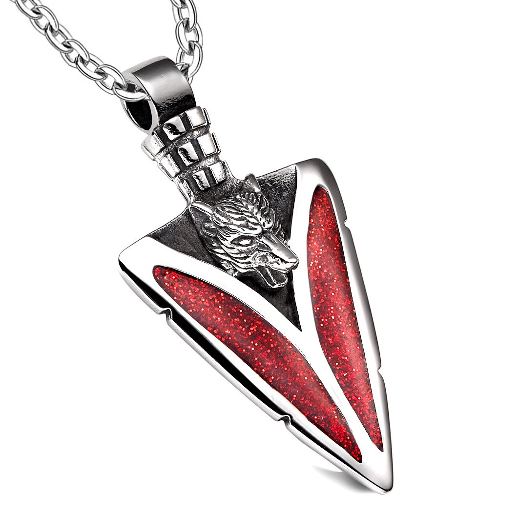 Arrowhead Howling Wolf Courage Powers Protection Amulet Sparkling Royal Red Pendant 22 Inch Necklace