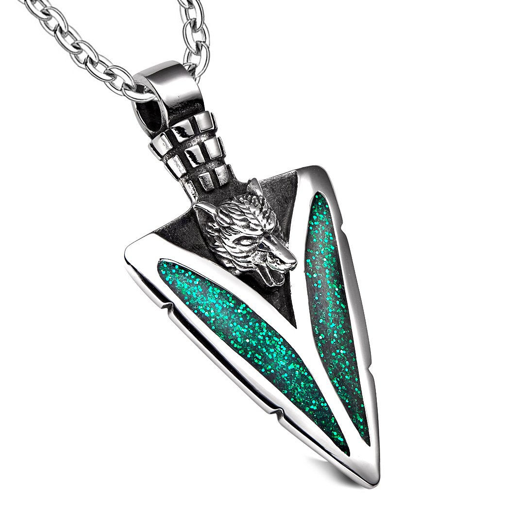 Arrowhead Howling Wolf Courage Powers Protection Amulet Sparkling Royal Green Pendant 22 Inch Necklace