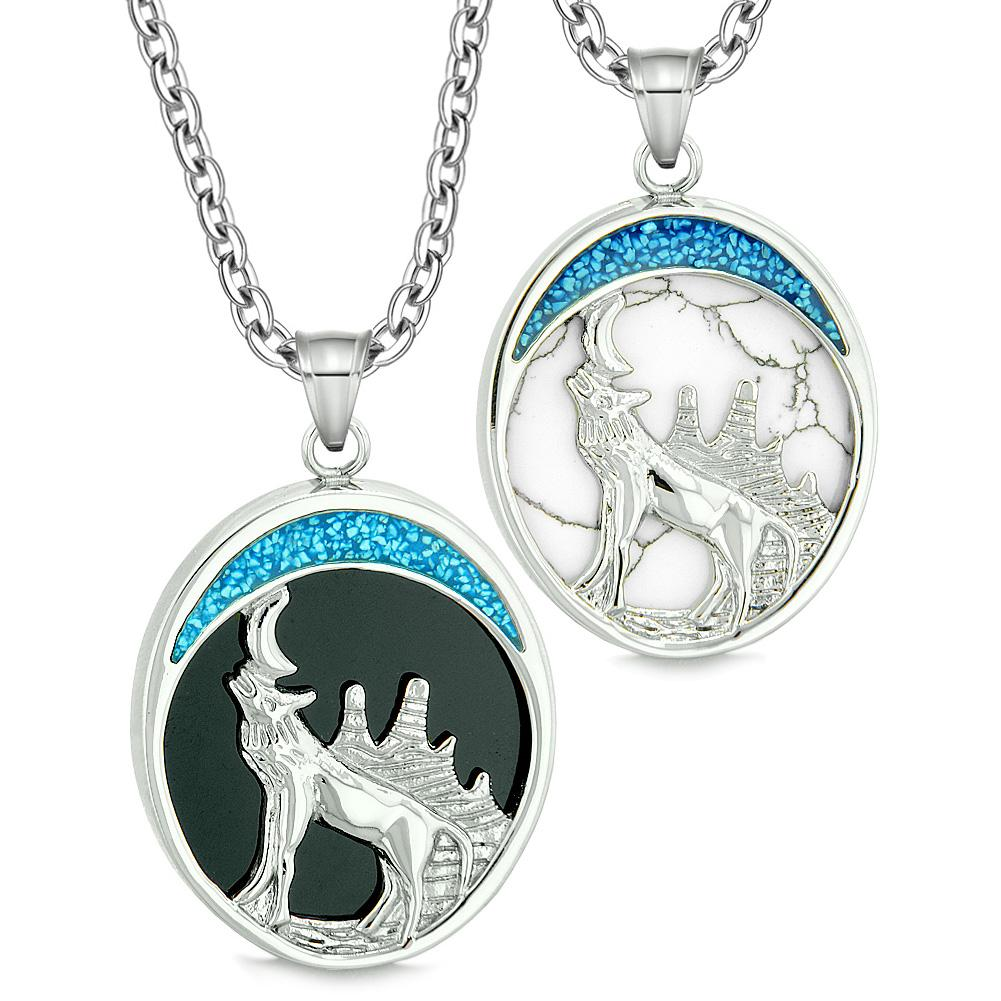 Howling Wolf Wild Love Couples or Best Friends Simulated Onyx Simulated White Turquoise Necklaces