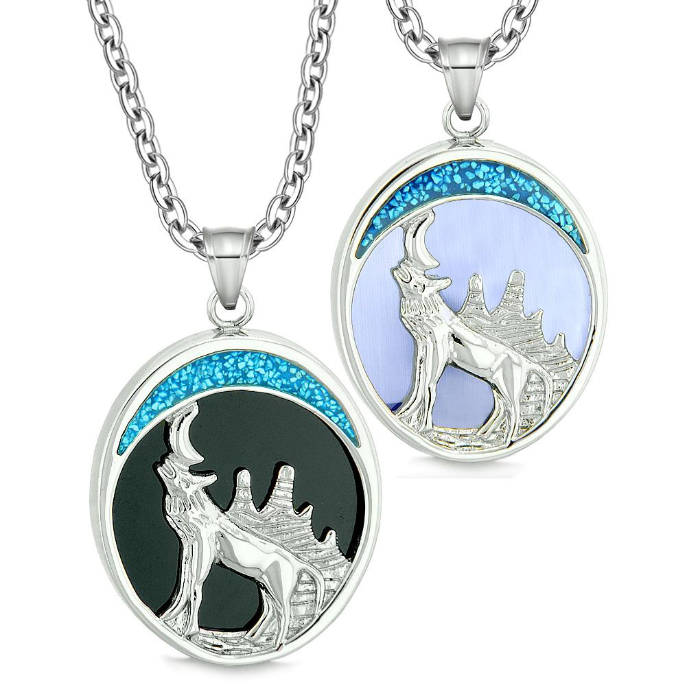 Howling Wolf Wild Love Couples or Best Friends Simulated Onyx Simulated Sky Blue Cats Eye Necklaces