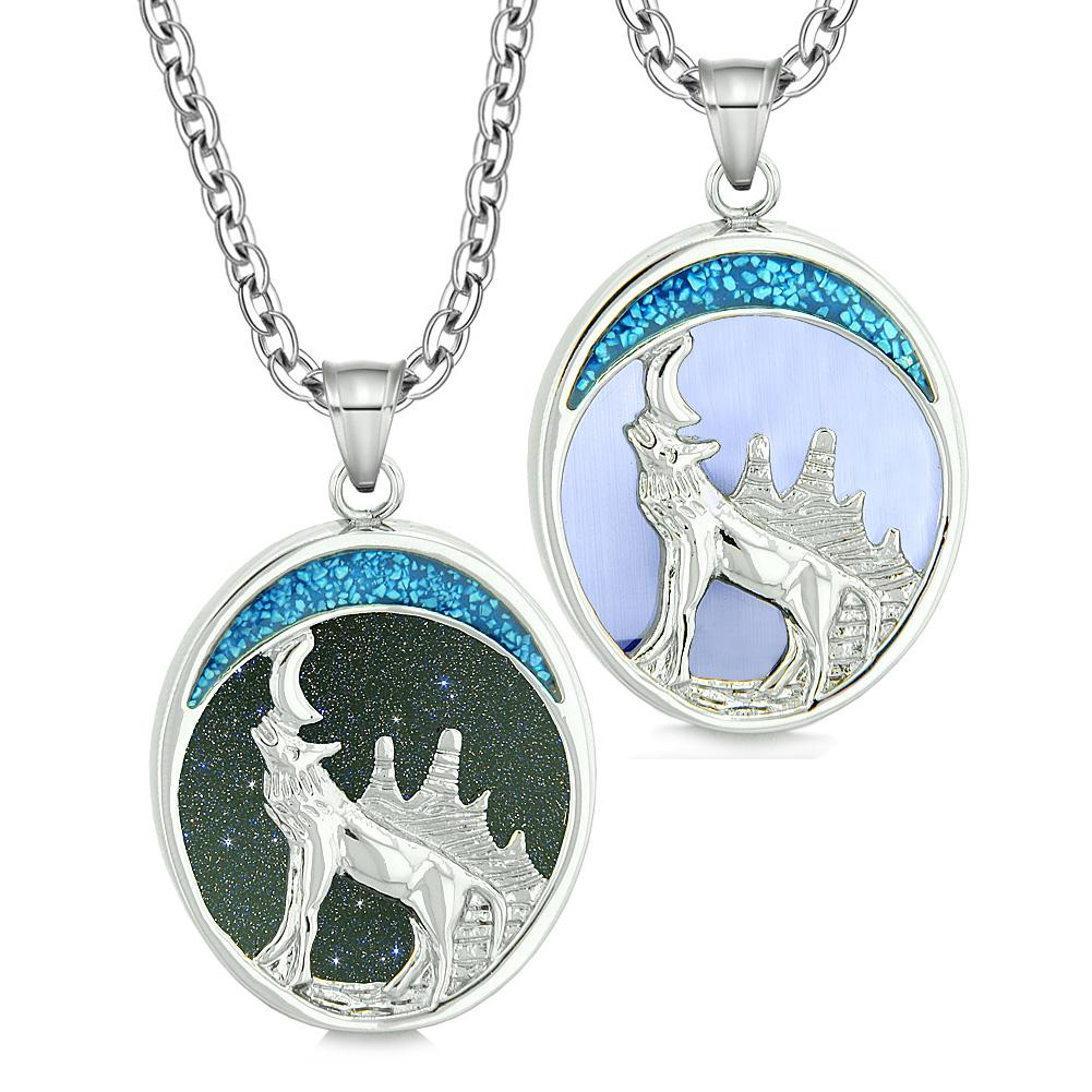 Howling Wolf Woods Love Couples or Best Friends Blue Goldstone Blue Simulated Cats Eye Necklaces