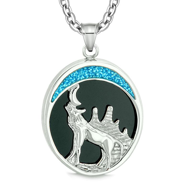 Howling Wolf Wild Woods Moon Magic Protection Powers Amulet Simulated Black Onyx Pendant Necklace