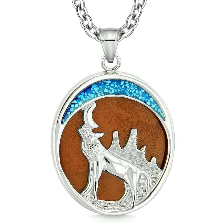 Howling Wolf and Wild Woods Moon Magic Protection Powers Amulet Red Jasper Pendant 18 Inch Necklace