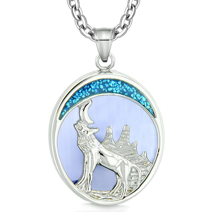 Howling Wolf Wild Woods Moon Protection Power Amulet Simulated Sky Blue Cats Eye Pendant Necklace
