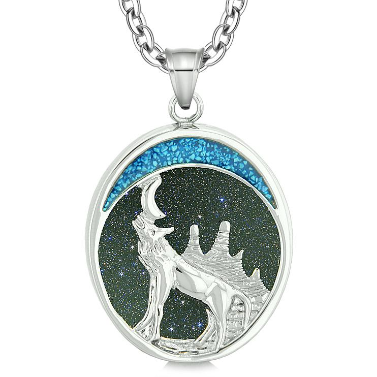 Howling Wolf and Wild Woods Moon Protection Powers Amulet Blue Goldstone Pendant 22 Inch Necklace