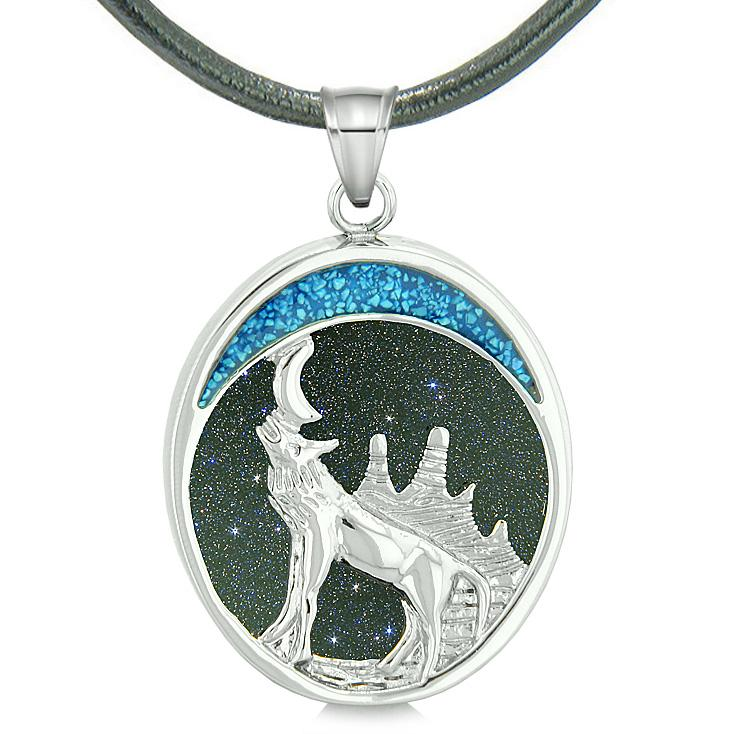 Howling Wolf and Wild Woods Moon Protection Powers Amulet Blue Goldstone Pendant Leather Necklace