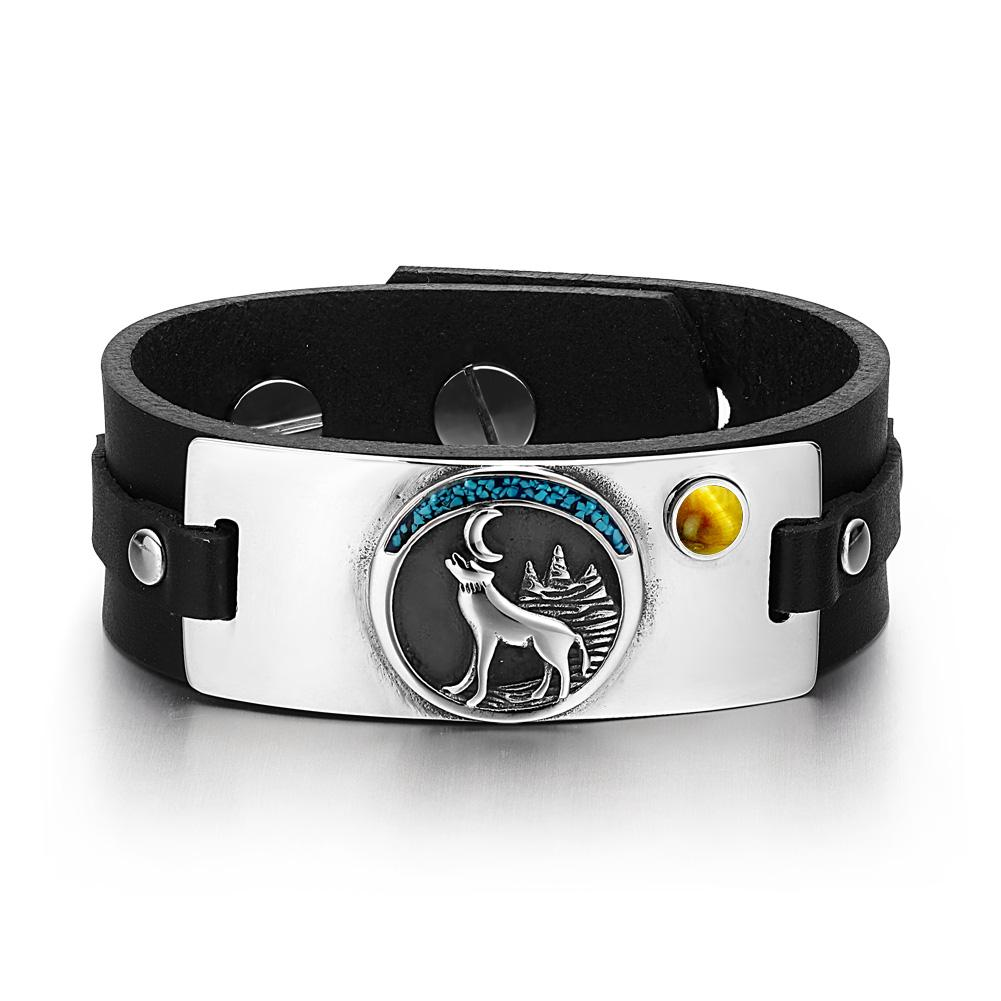 Wild Spirit Moon Howling Wolf Amulet Tag Tiger Eye Gemstone Adjustable Black Leather Bracelet