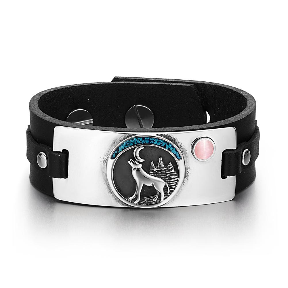 Wild Spirit Moon Howling Wolf Amulet Tag Pink Simulated Cats Eye Adjustable Black Leather Bracelet