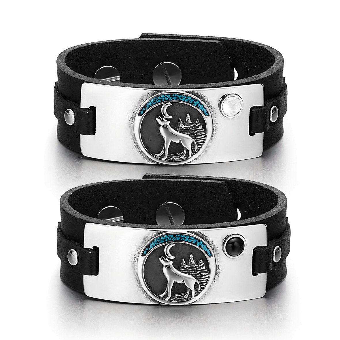 Wild Moon Howling Wolf Love Couple White Simulated Cats Eye Simulated Onyx Black Leather Bracelets