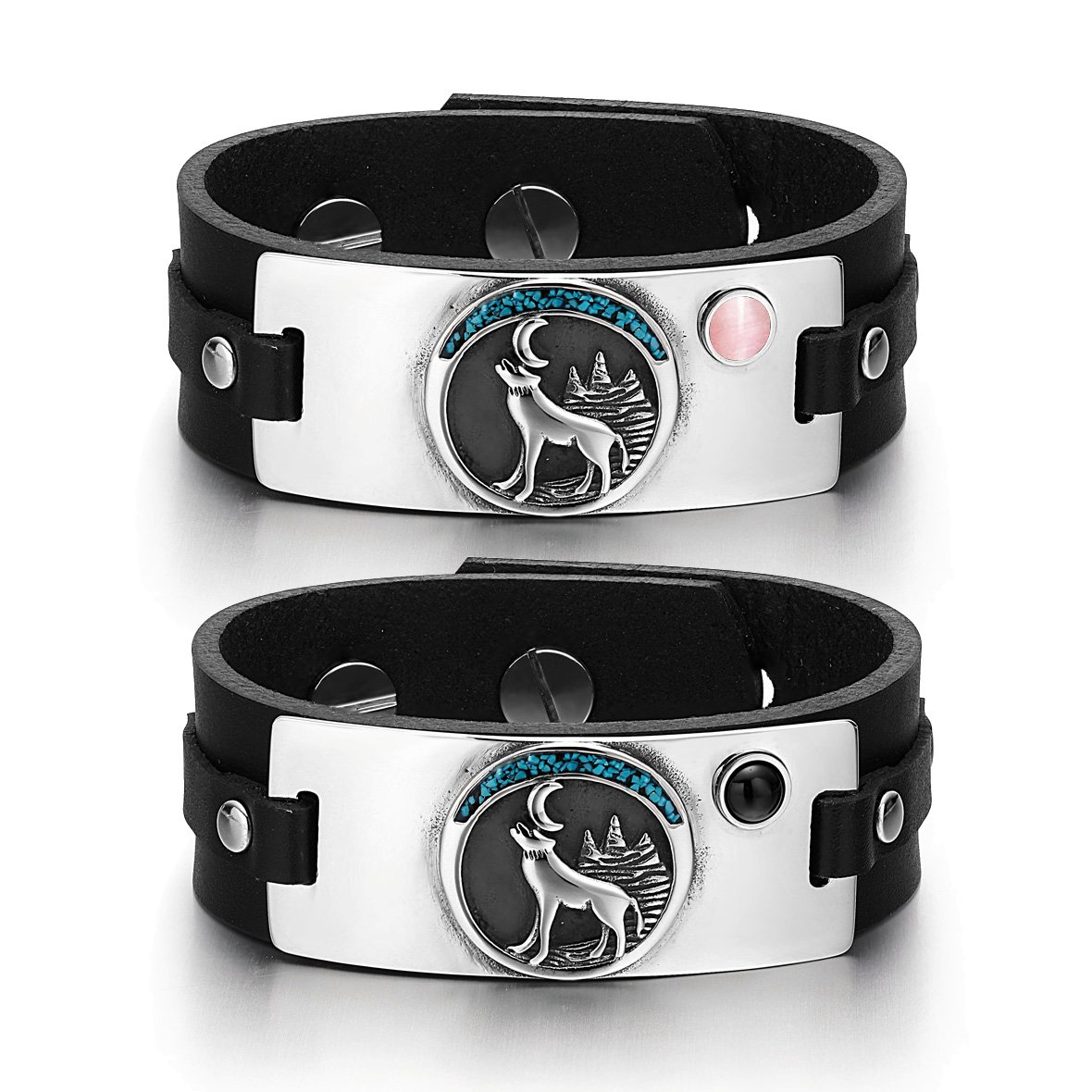 Wild Moon Howling Wolf Love Couples Pink Simulated Cats Eye Simulated Onyx Black Leather Bracelets