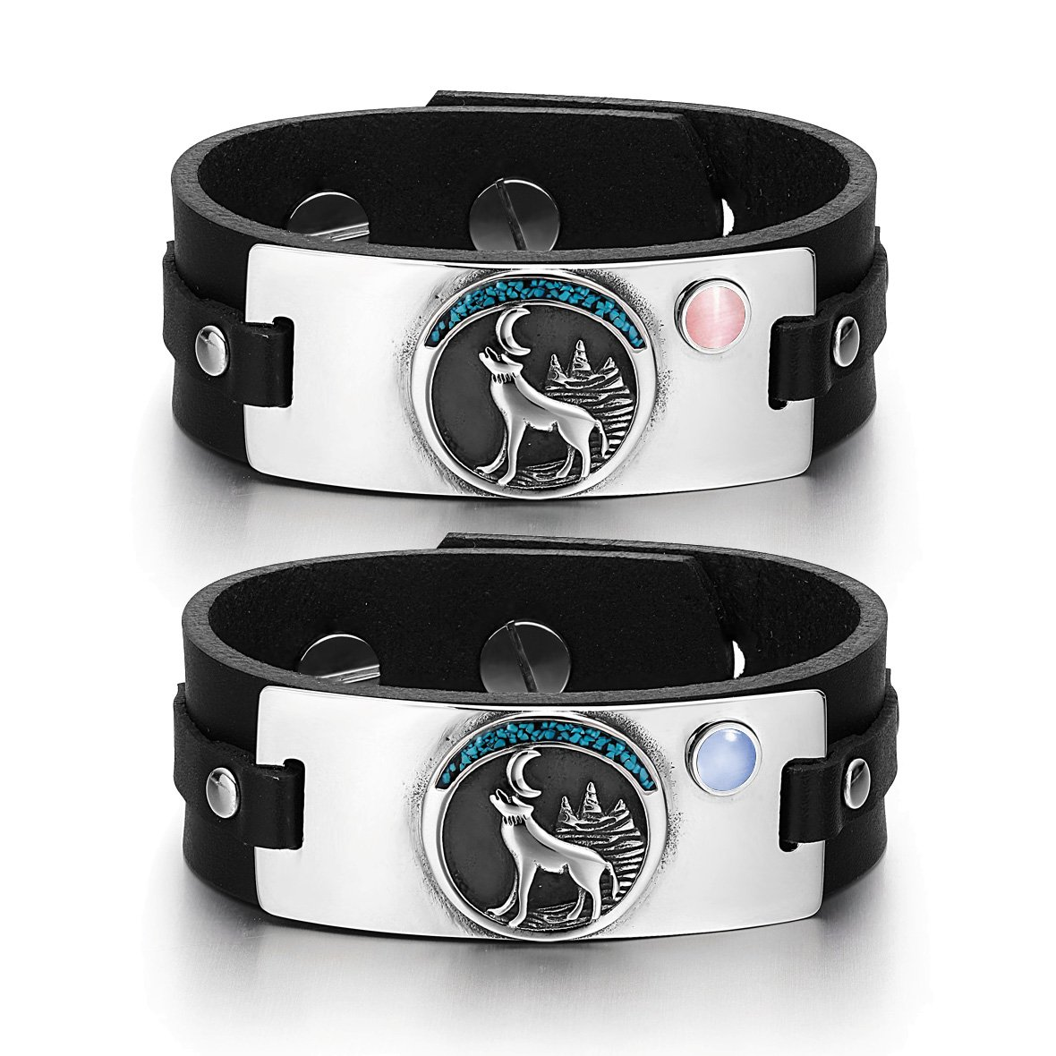 Wild Moon Howling Wolf Amulets Love Couples Pink Blue Simulated Cats Eye Black Leather Bracelets