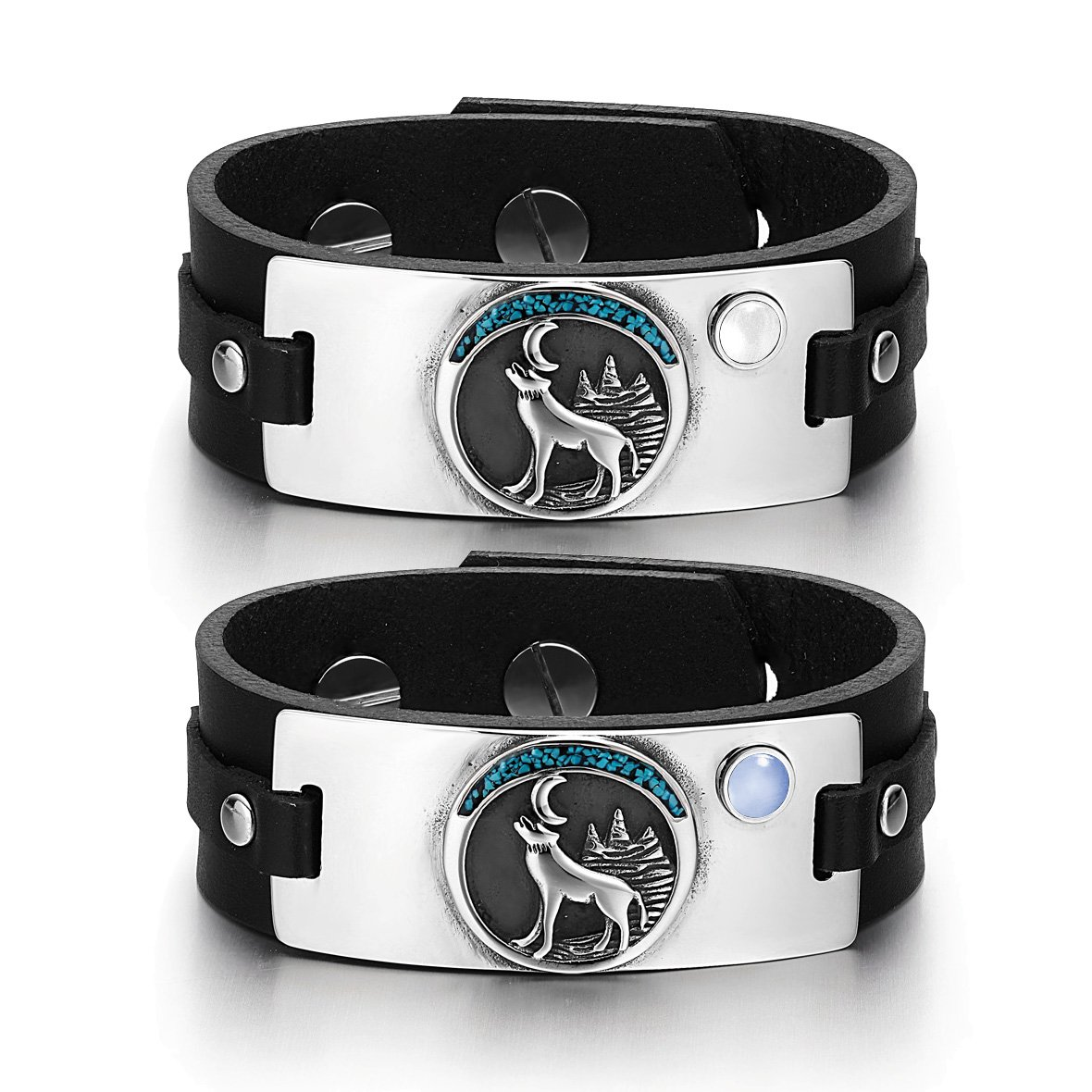 Wild Moon Howling Wolf Amulets Love Couples White Blue Simulated Cats Eye Black Leather Bracelets
