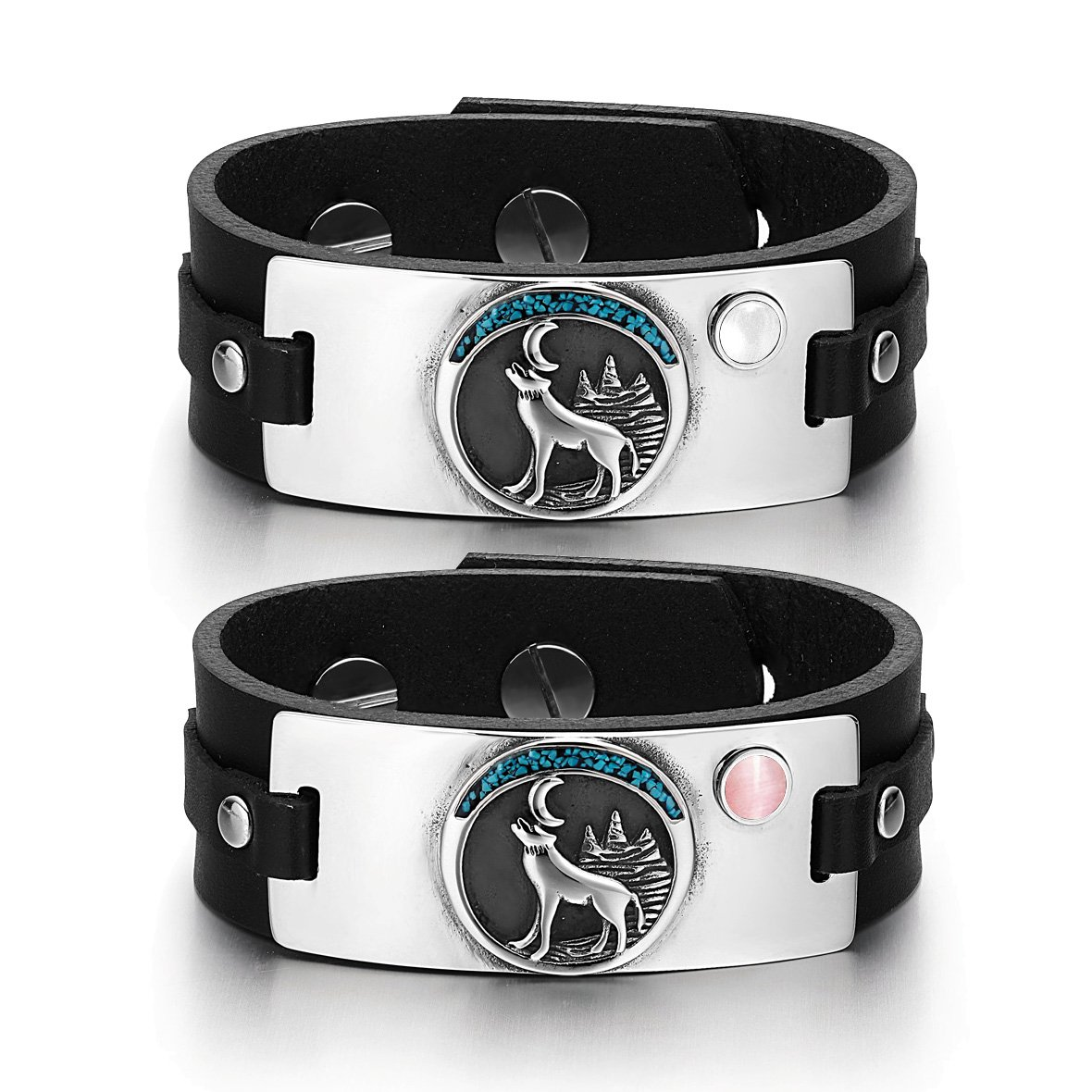 Wild Moon Howling Wolf Amulets Love Couples White Pink Simulated Cats Eye Black Leather Bracelets