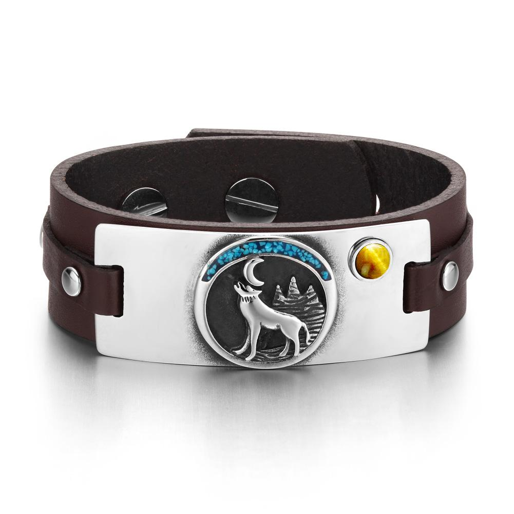 Wild Spirit Moon Howling Wolf Amulet Tag Tiger Eye Gemstone Adjustable Dark Brown Leather Bracelet
