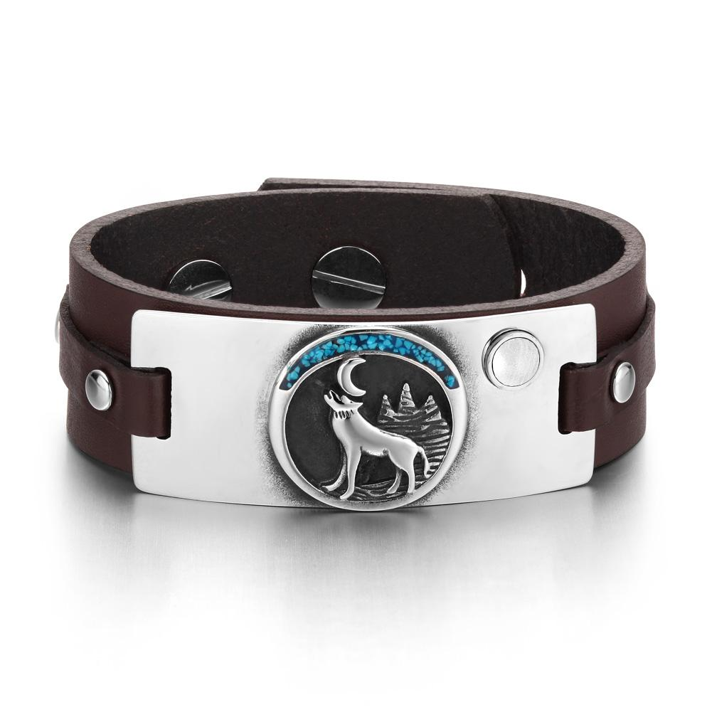 Wild Spirit Moon Howling Wolf Amulet Tag White Simulated Cats Eye Dark Brown Leather Bracelet