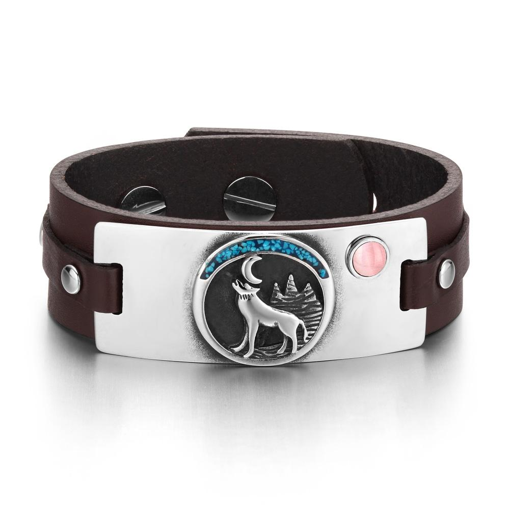 Wild Spirit Moon Howling Wolf Amulet Pink Simulated Cats Eye Adjustable Dark Brown Leather Bracelet