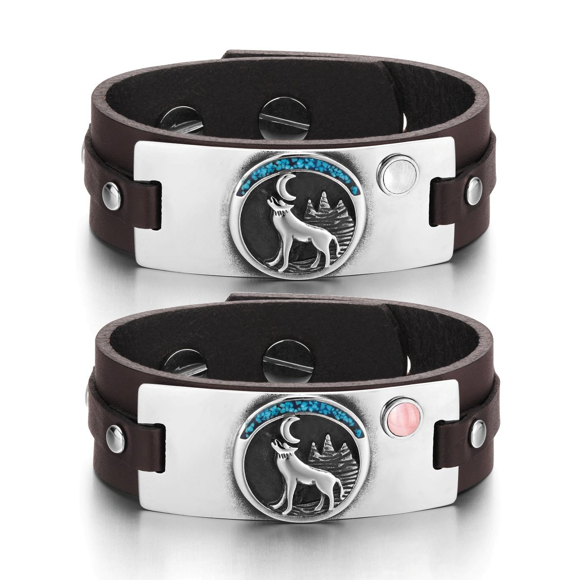 Wild Moon Howling Wolf Amulets Love Couples White Pink Simulated Cats Eye Brown Leather Bracelets