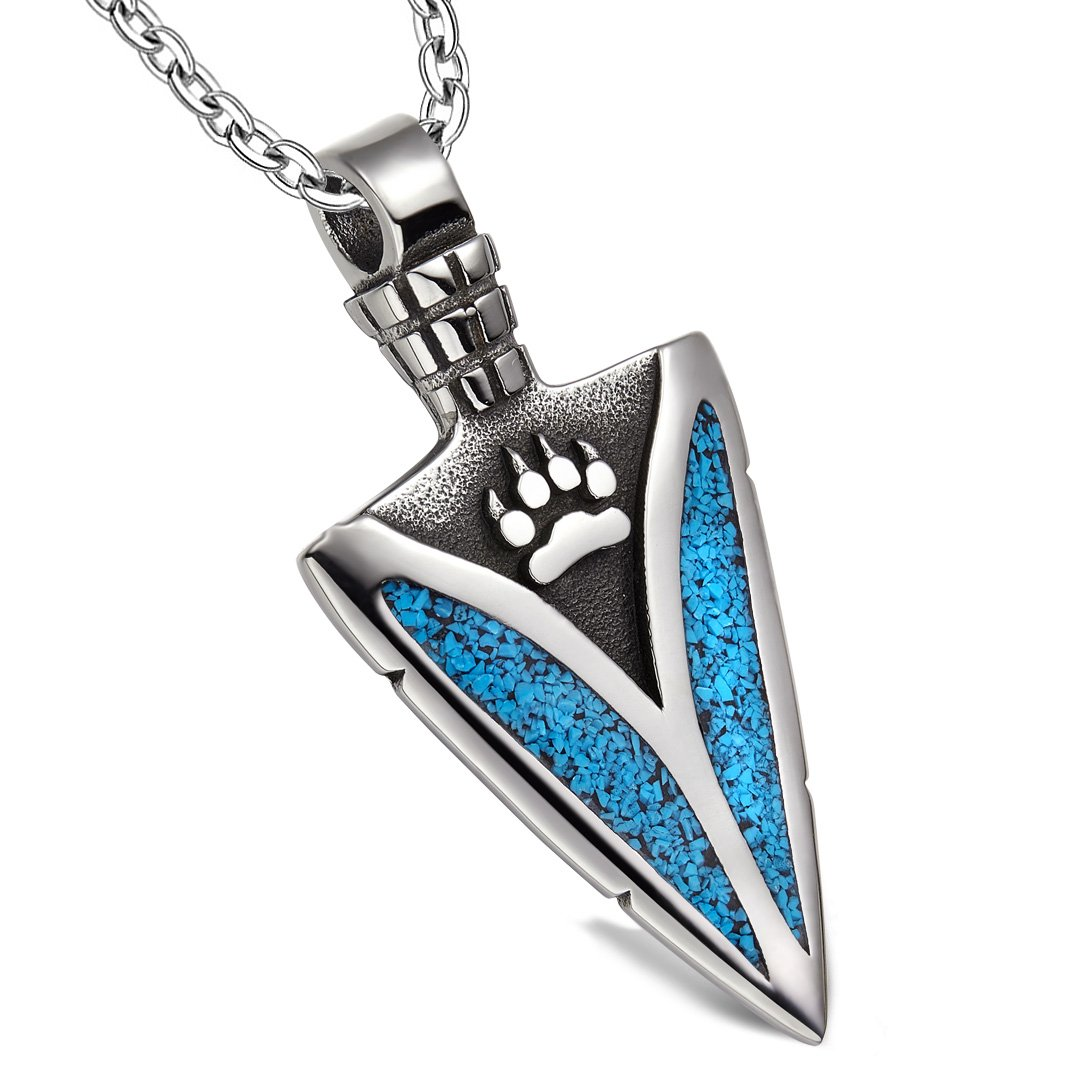 Arrowhead Wolf Paw Brave Wild Powers Protection Amulet Charm Simulated Turquoise Pendant 22 Inch Necklace