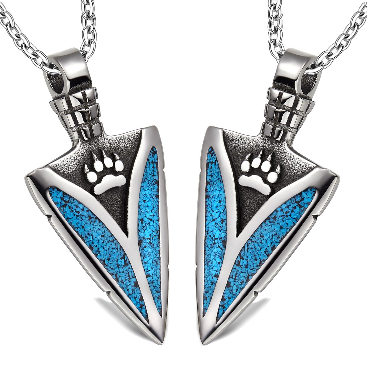 Arrowhead Wild Wolf Paw Love Couples or Best Friends Protection Amulets Set Simulated Turquoise Necklaces