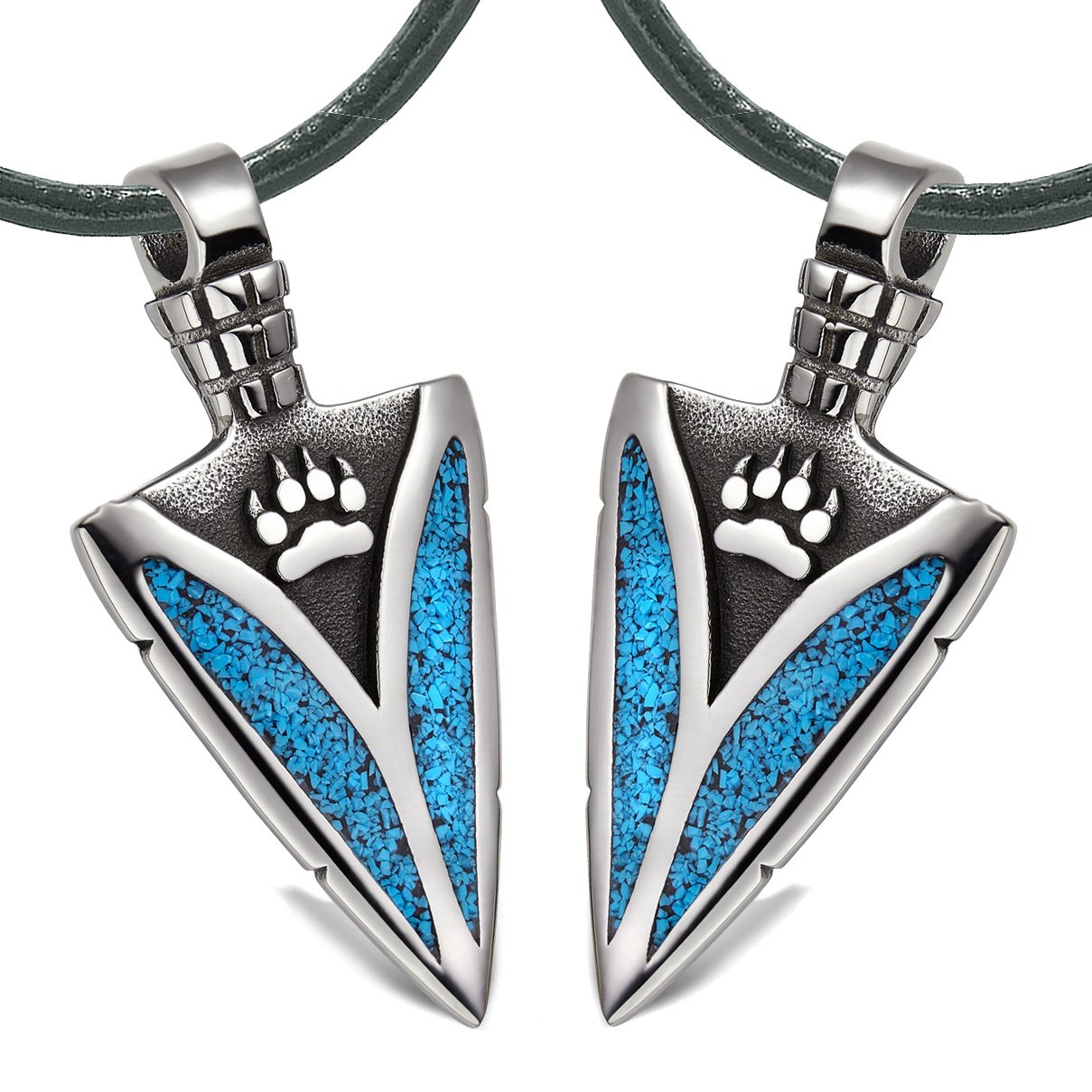Arrowhead Wild Wolf Paw Love Couples or Best Friends Amulets Set Simulated Turquoise Leather Necklaces