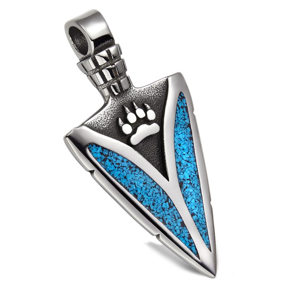 Arrowhead Wolf Paw Brave Wild Powers Protection Amulet Magic Lucky Charm Simulated Turquoise Pendant