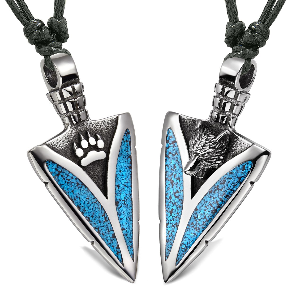 Arrowhead Howling Wolf and Paw Love Couples Best Friends Amulets Simulated Turquoise Adjustable Necklaces