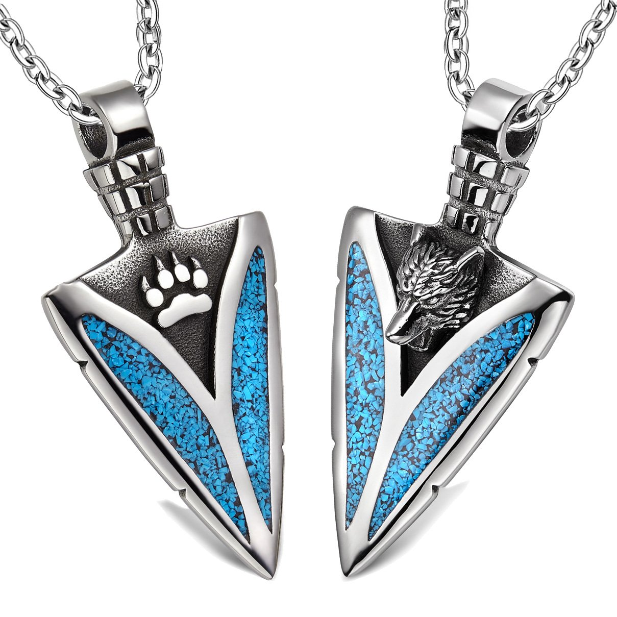 Arrowhead Howling Wolf and Wild Paw Love Couples or Best Friends Amulet Set Simulated Turquoise Necklaces
