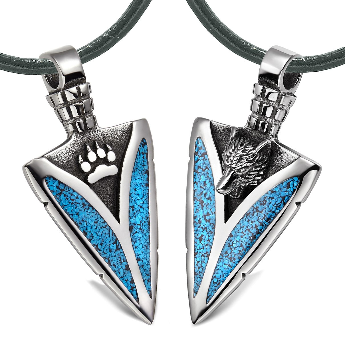 Arrowhead Howling Wolf and Paw Love Couples or Best Friends Amulets Simulated Turquoise Leather Necklaces
