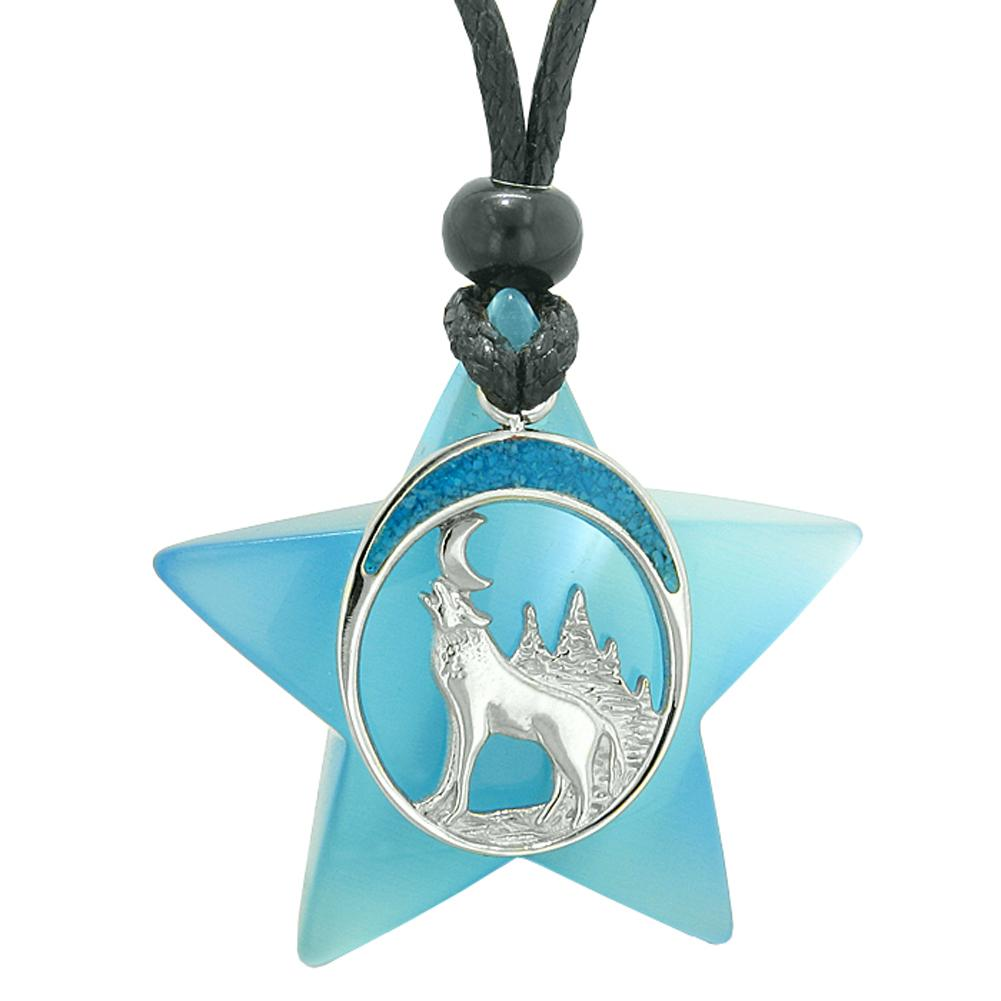 Unique Howling Wolf and Moon Super Star Amulet Protection Powers Sky Blue Simulated Cats Eye Necklace