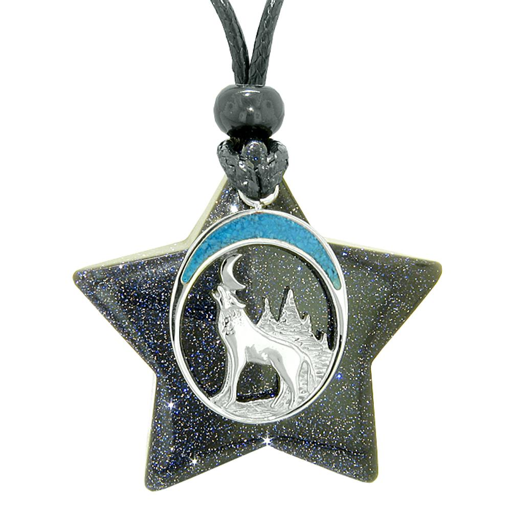 Unique Howling Wolf and Moon Super Star Amulet Protection Magic Powers Blue Goldstone Necklace