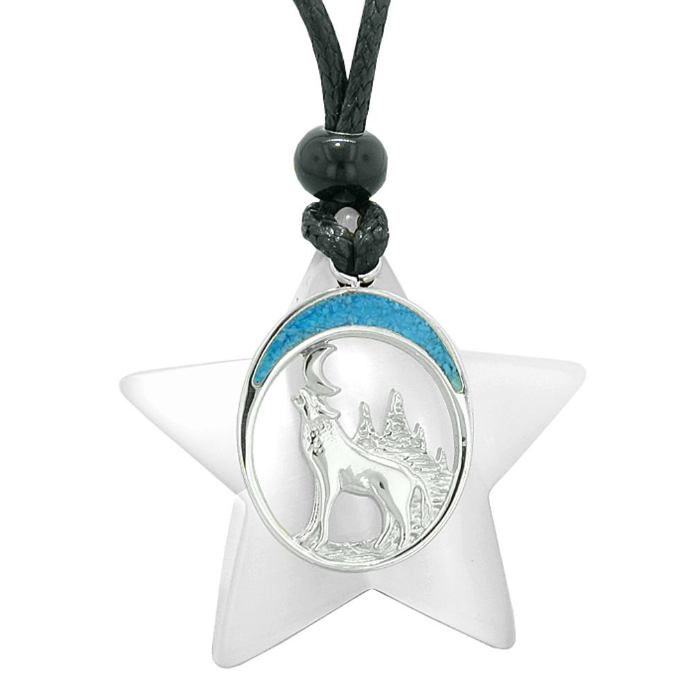 Unique Howling Wolf and Moon Super Star Amulet Protection Magic Powers White Simulated Cats Eye Necklace
