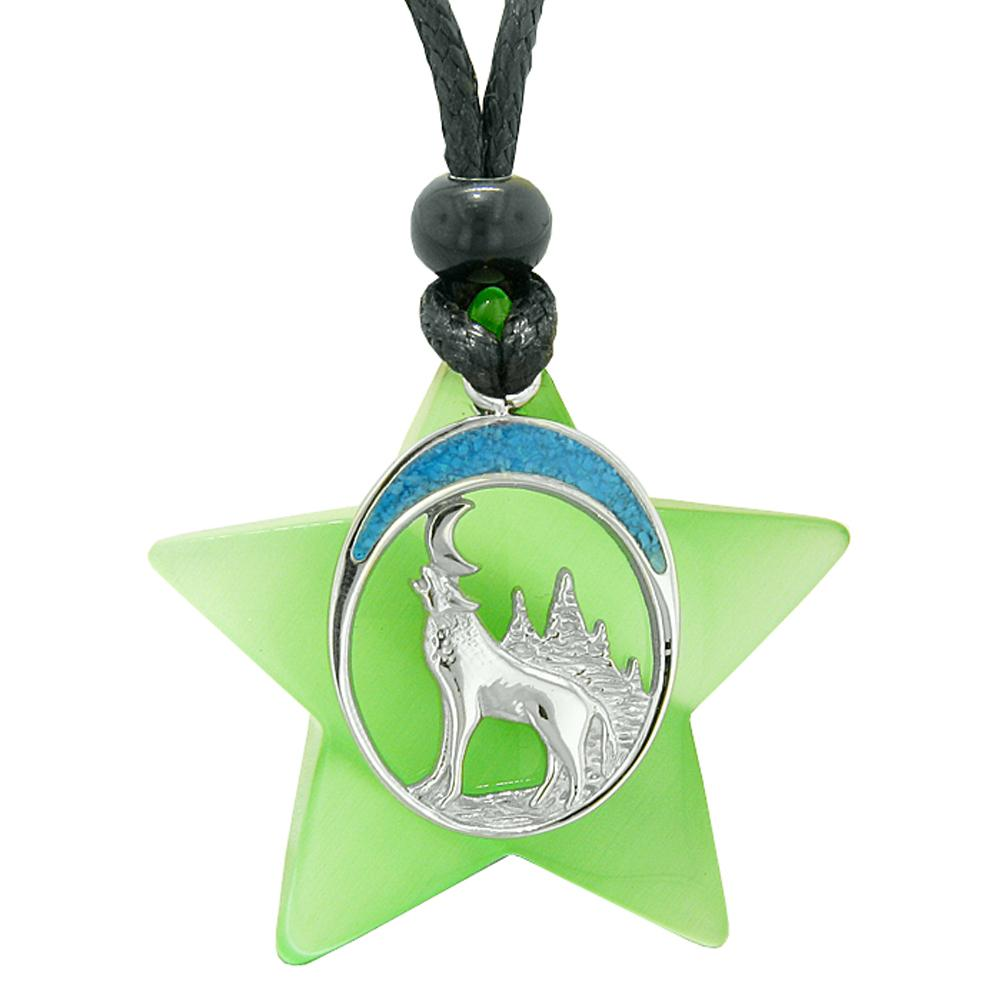 Unique Howling Wolf and Moon Super Star Amulet Protection Powers Neon Green Simulated Cats Eye Necklace