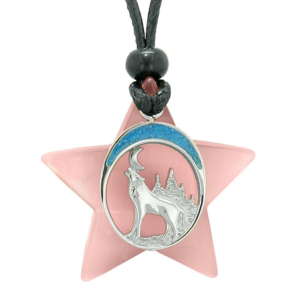 Unique Howling Wolf and Moon Super Star Amulet Protection Powers Pink Simulated Cats Eye Necklace