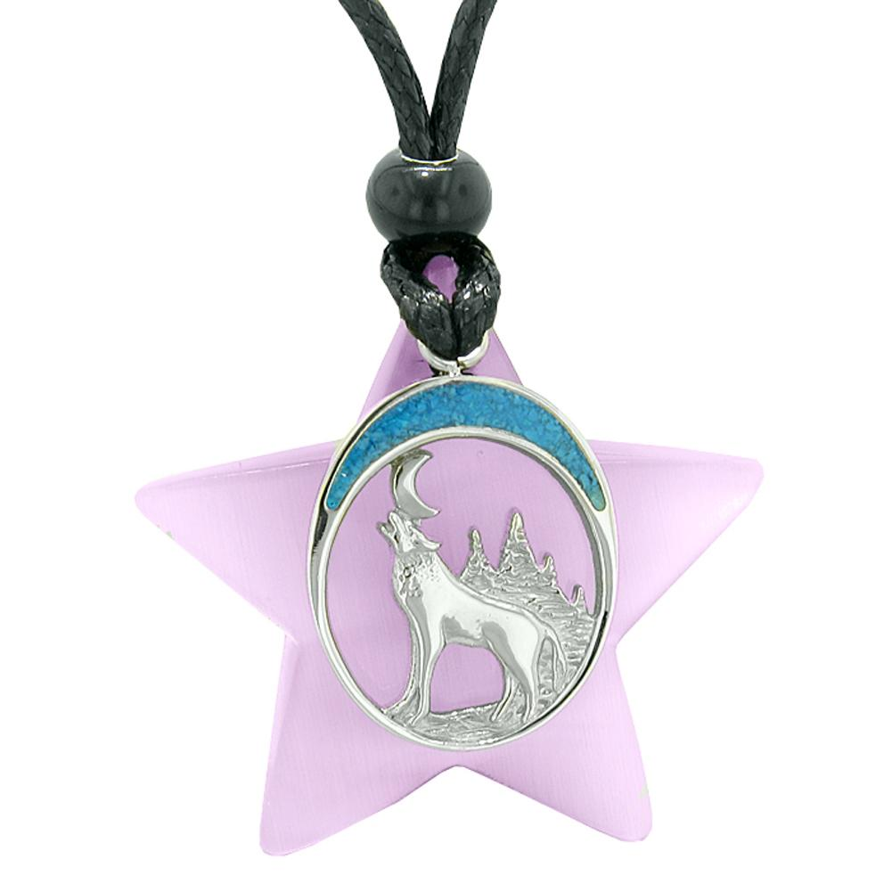 Unique Howling Wolf and Moon Super Star Amulet Protection Powers Purple Simulated Cats Eye Necklace