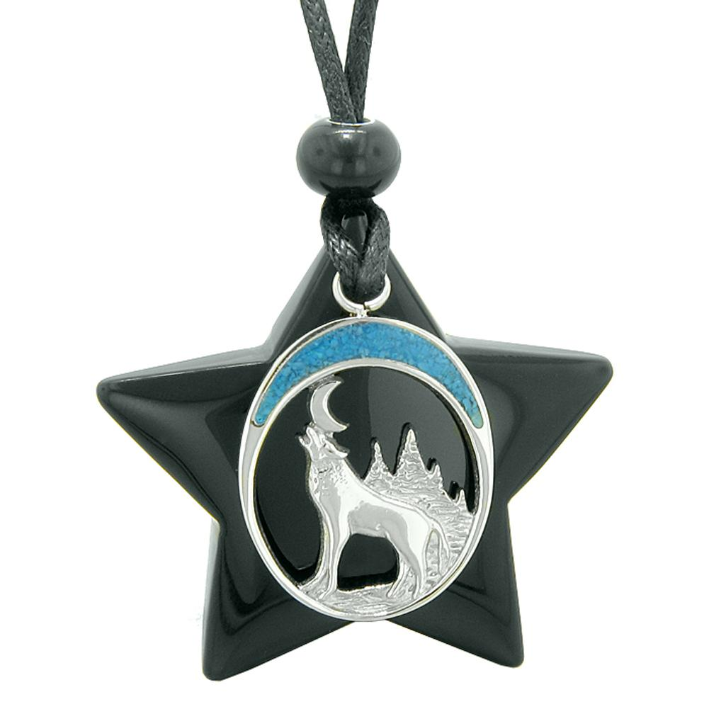 Unique Howling Wolf and Moon Super Star Amulet Protection Magic Powers Black Agate Necklace