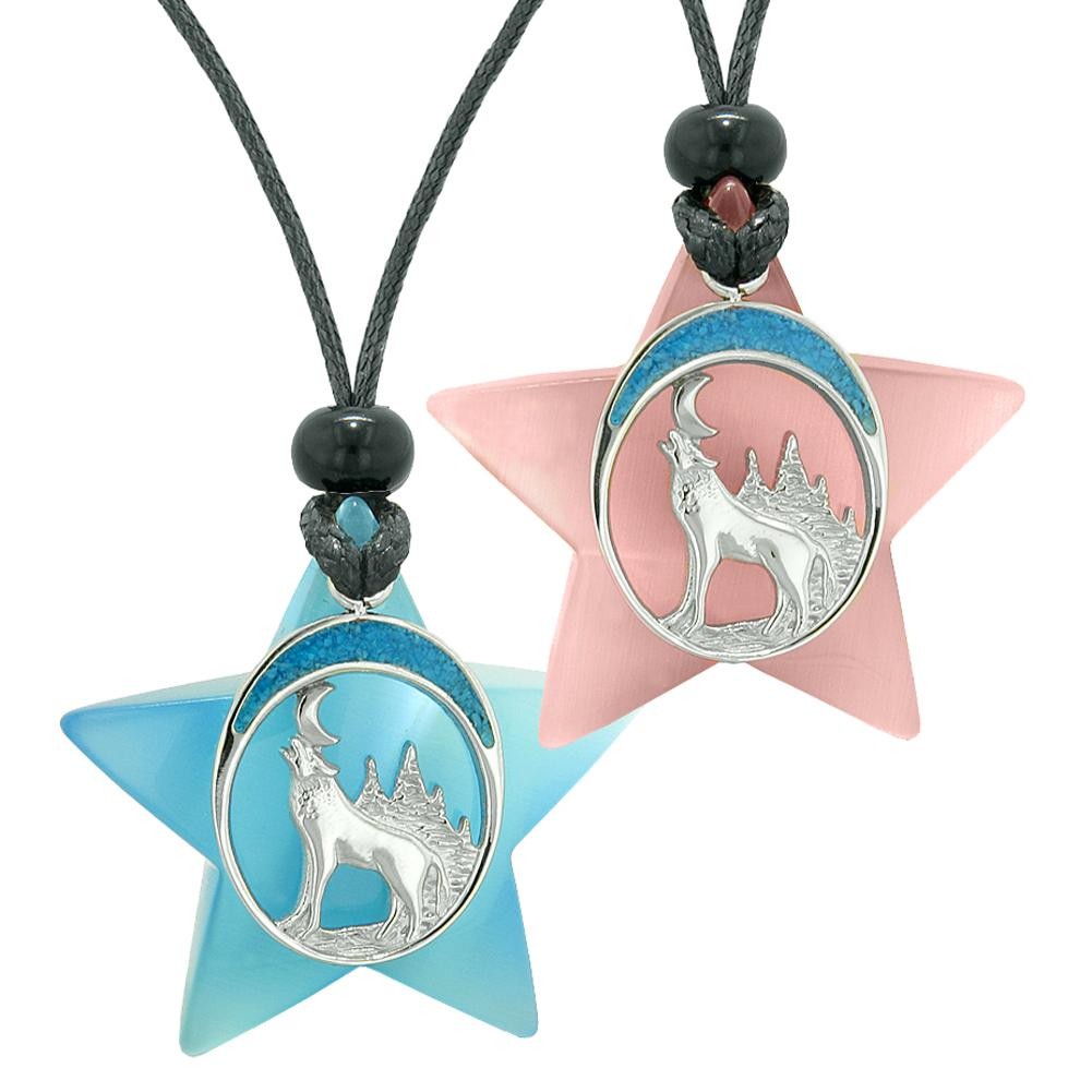 Unique Howling Wolf Moon Super Star Protection Amulet Blue Pink Simulated Cats Eye Love Couples Necklaces