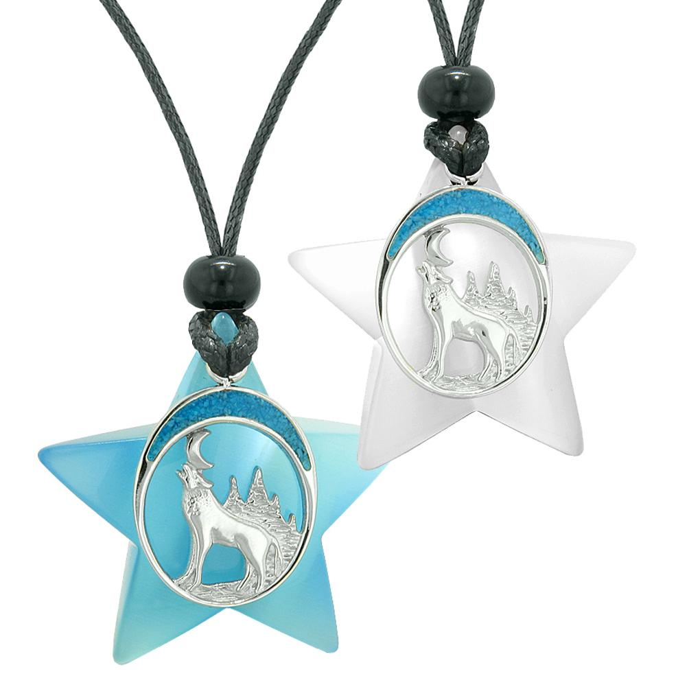 Unique Howling Wolf Moon Super Star Protection Amulet Blue White Simulated Cat Eye Love Couples Necklaces
