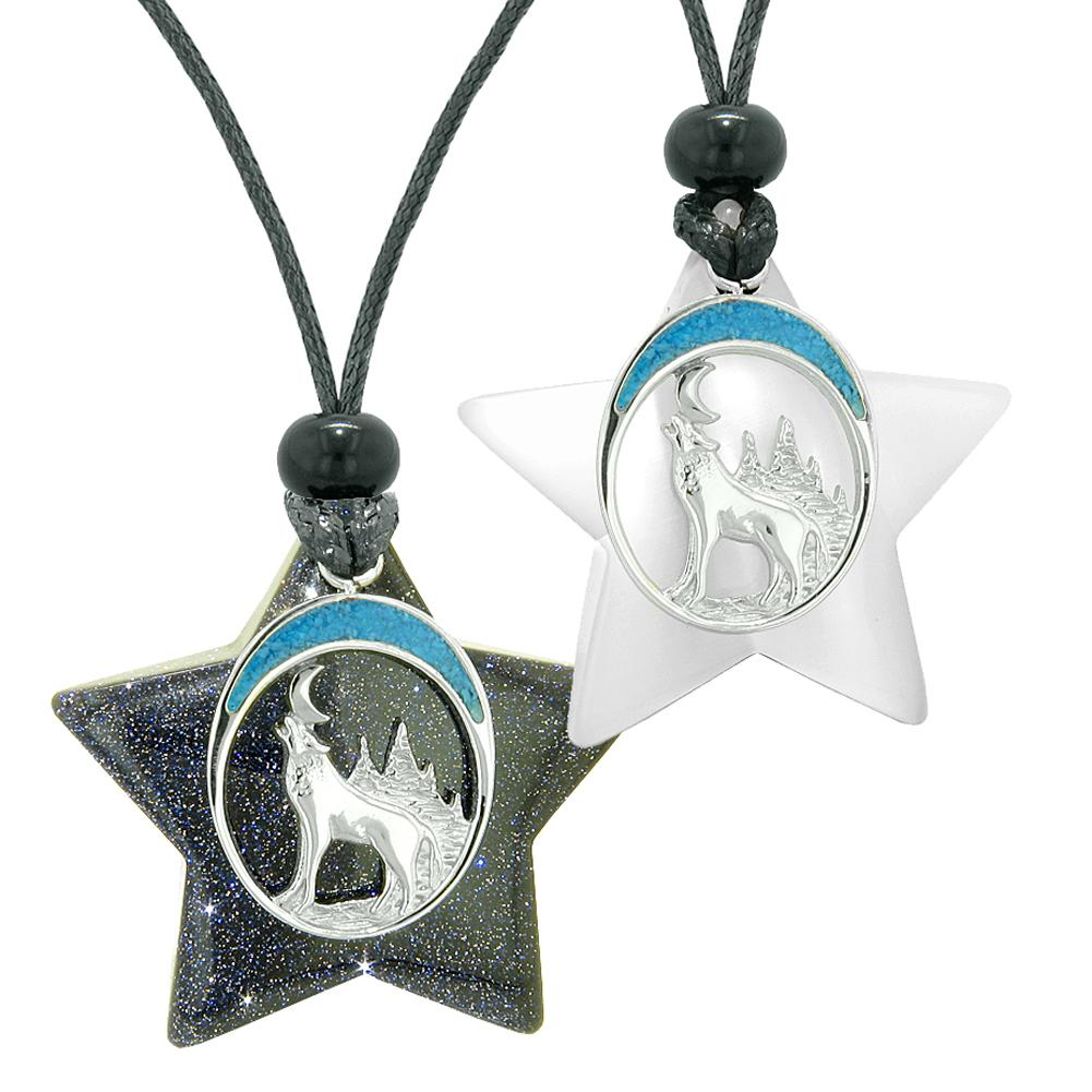 Unique Howling Wolf Moon Super Star Amulet Blue Goldstone White Simulated Cats Eye Love Couples Necklaces