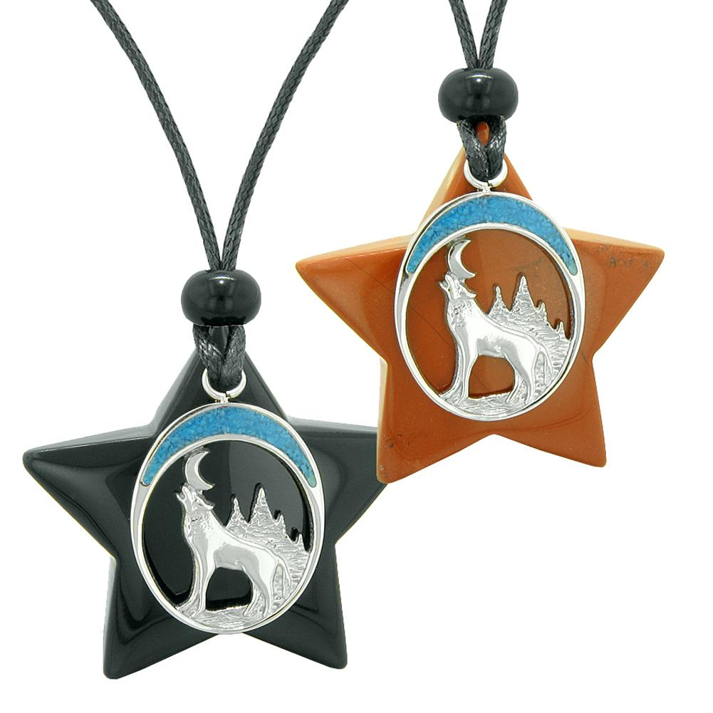 Unique Howling Wolf Moon Super Star Protection Amulets Black Agate Red Jasper Love Couples Necklaces