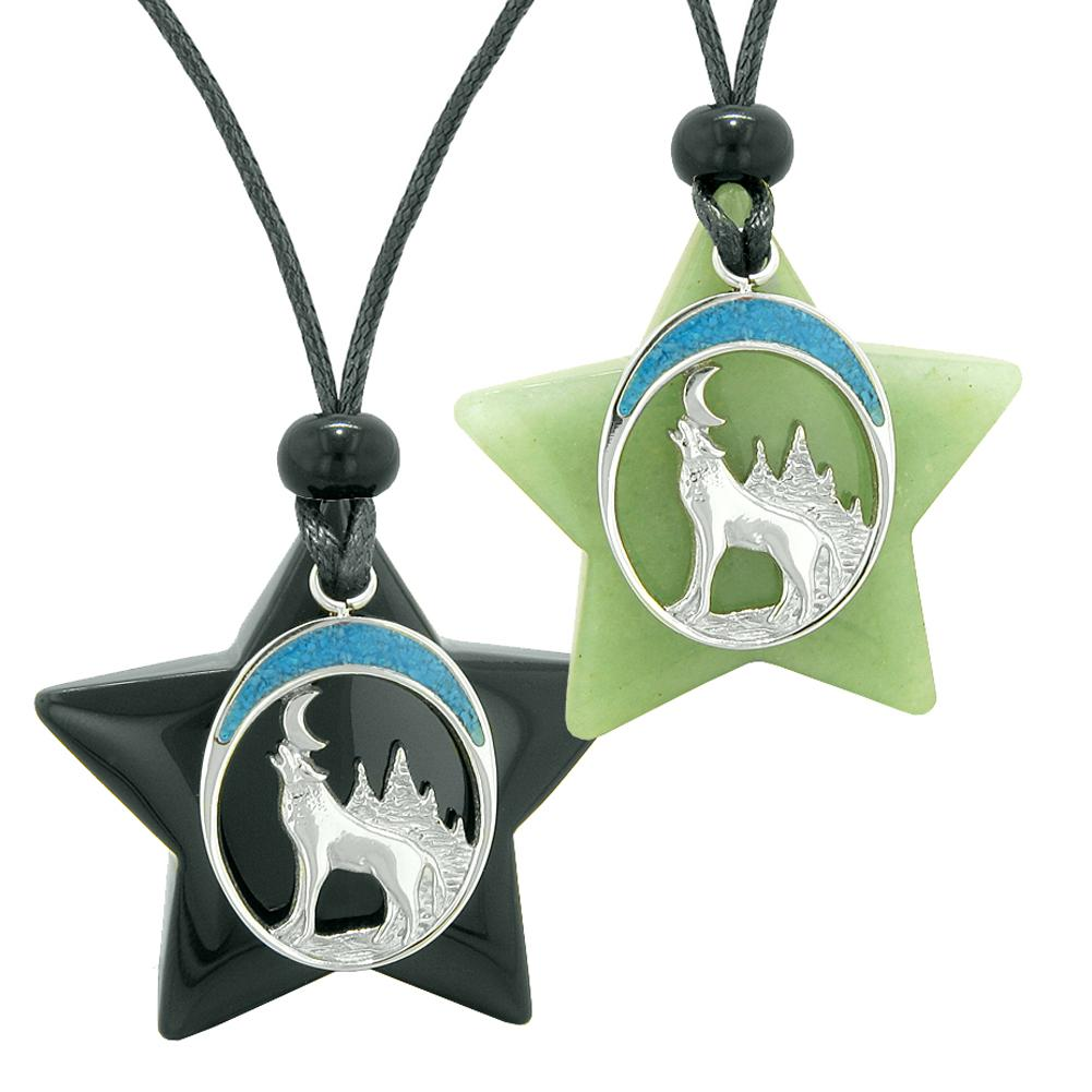 Unique Howling Wolf Moon Super Star Protection Amulets Black Agate Green Quartz Love Couples Necklaces