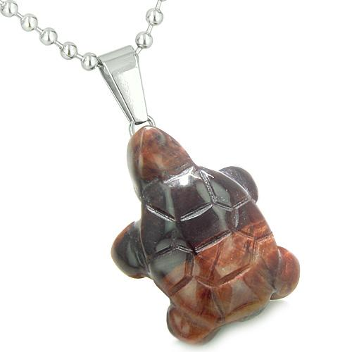 Good Luck Charm Turtle Amulet Red Tiger Eye Gemstone Protection Healing Powers Pendant Necklace