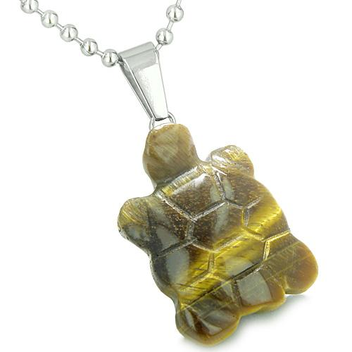 Good Luck Charm Turtle Amulet Tiger Eye Gemstone Protection Healing Powers Pendant Necklace