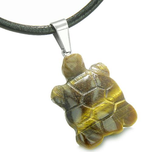 Good Luck Charm Turtle Amulet Tiger Eye Gemstone Protection Healing Powers Pendant Cord Necklace