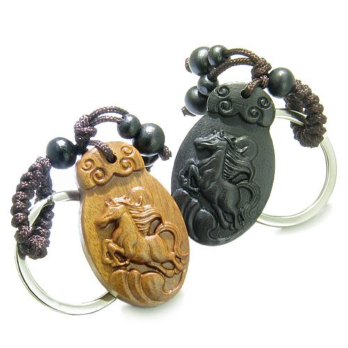 Love Couple or Best Friends Amulets Sandal Wood Horse Earth Elements Feng Shui Keychains Blessings