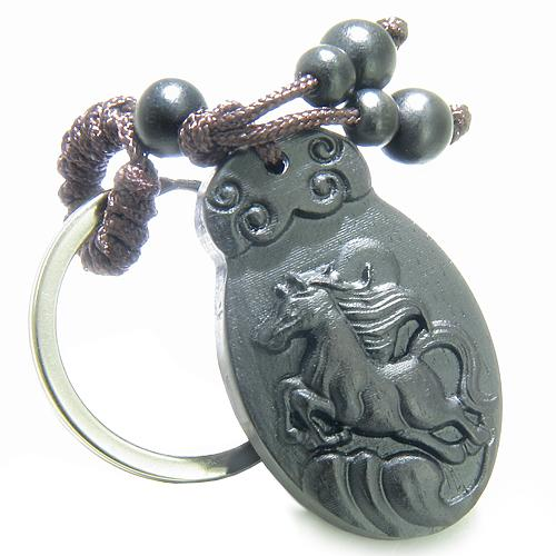 Amulet Sandal Wood Magic Lucky Horse Earth Elements Feng Shui ProtectiSuper Power Keychain Charm