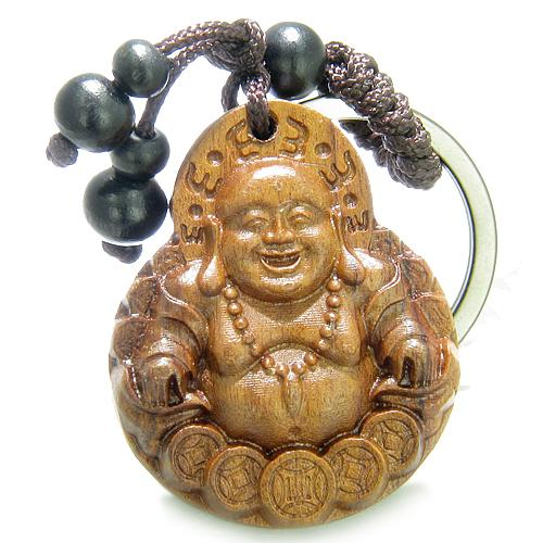 Amulet Sandal Wood Magic Laughing Happy Buddha Sitting Lucky Coins Feng Shui Keychain Charm