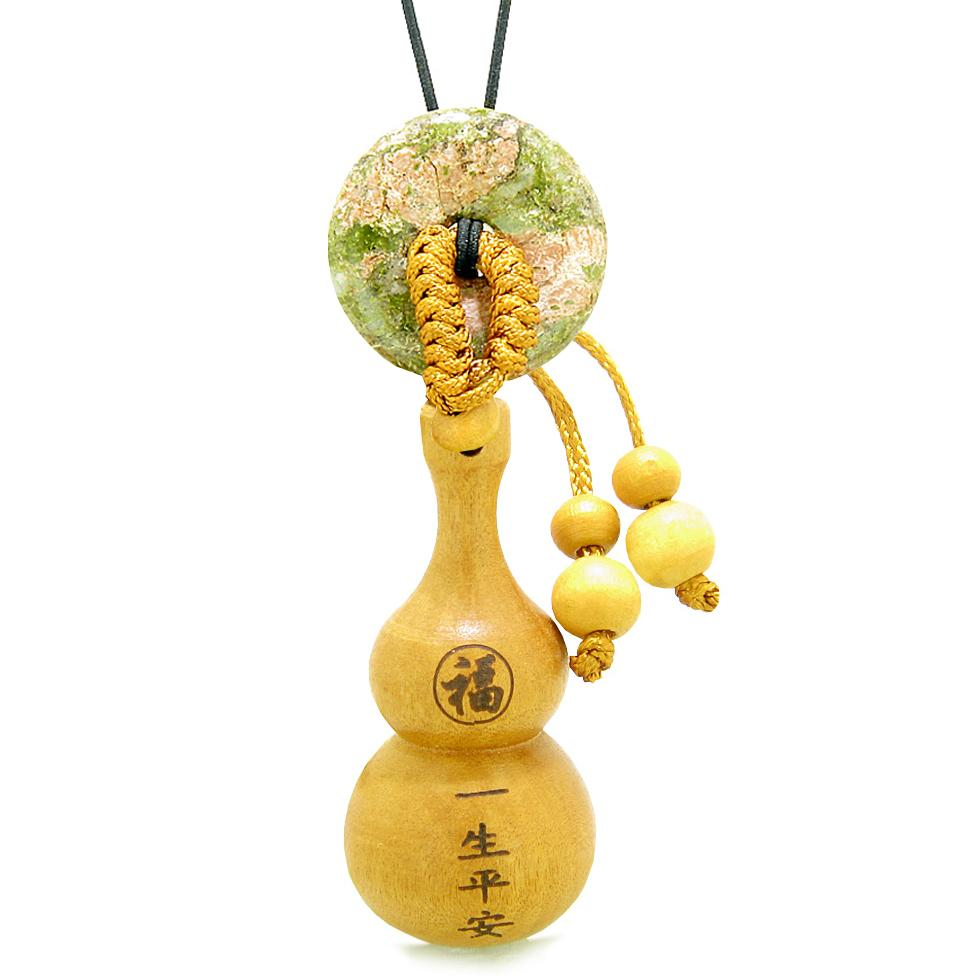 Good Luck Wulu Feng Shui Car Charm or Home Decor Unakite Donut Protection Powers Magic Amulet