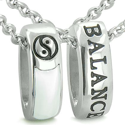 Forever Balance Love Couples Reversible Rings Yin Yang Amulets Cats Eye Onyx Positive Necklaces